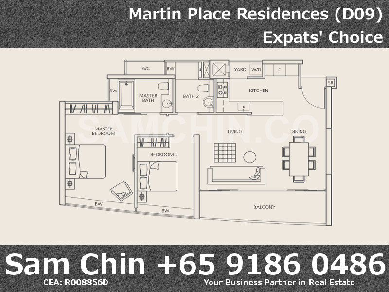 Martin Place Residences – Floor Plan – 2BD – b2 – 1044sqft