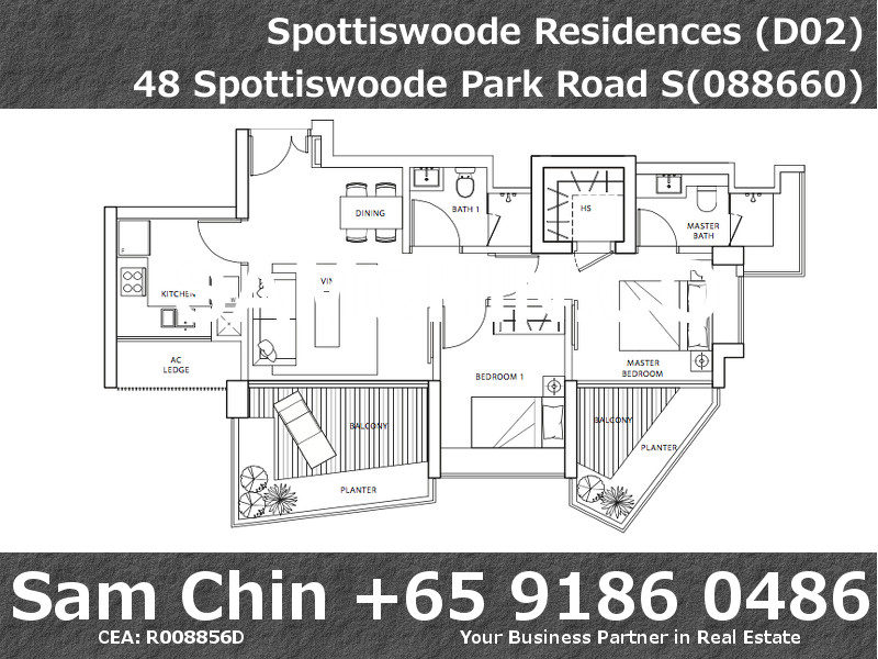 Spottiswoode Residences – Floor Plan – 2Bedroom – Stack 10