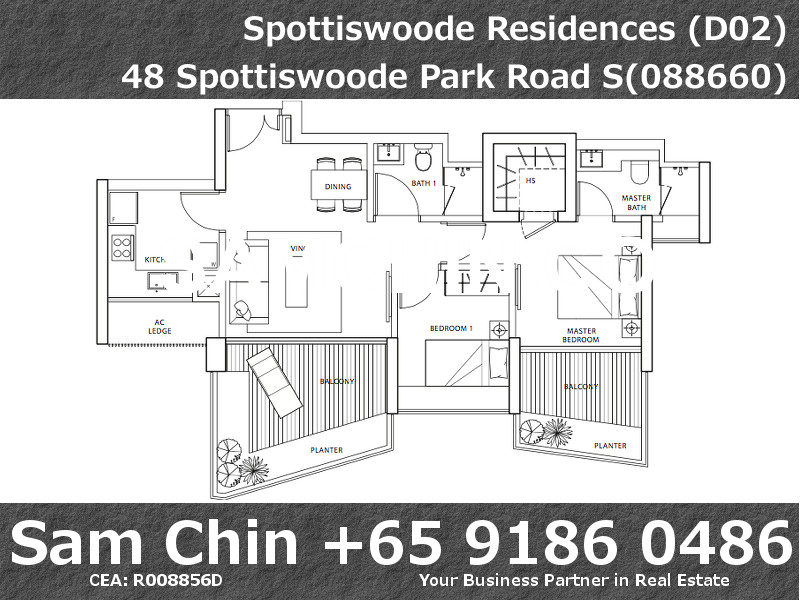 Spottiswoode Residences – Floor Plan – 2Bedroom – Stack 6 7 11