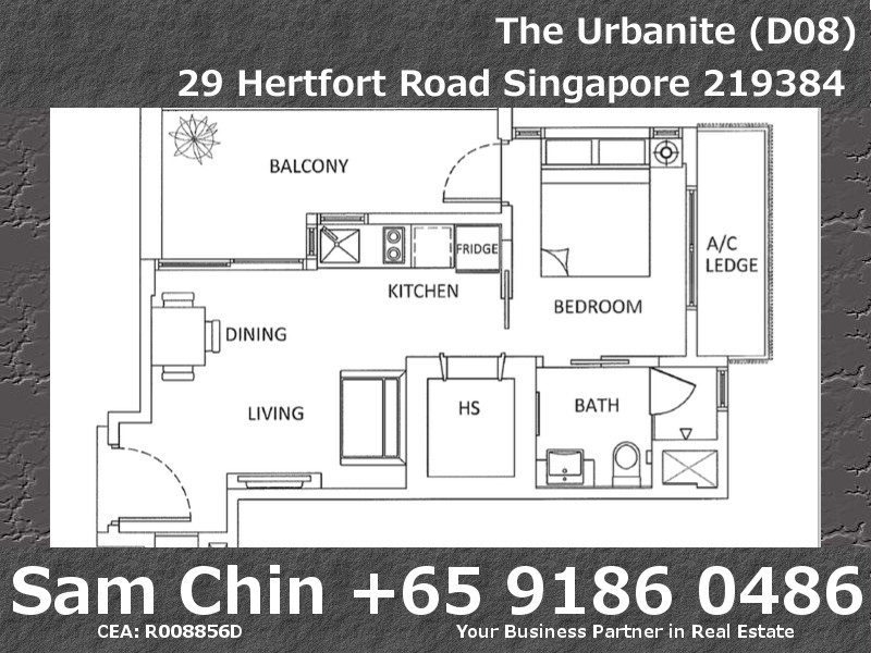 The Urbanite – 1 Bedroom – Floor Plan