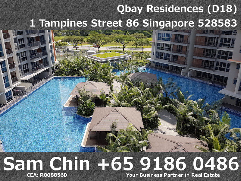 Qbay Residences – 1+Study – S08 – Balcony View – Pool