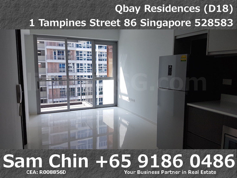 Qbay Residences – 1+Study – S08 – Kitchen and Living Area
