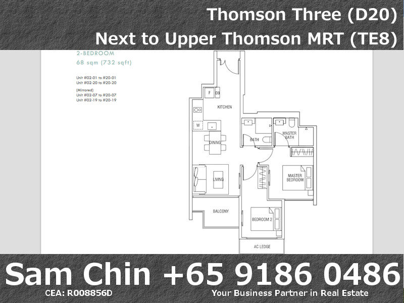 Thomson Three – 2 Bedroom – S07 – Floor Plan